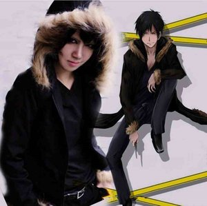 Wholesale Asian Size Japan Anime Durarara Orihara Izaya Cosplay Plush Costume Soft Long Sleeve Black Jacket Coat Hoodie