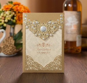 Romantic Laser Cut Wedding Invitation Card Gold Red Luxury Floral Elegant Lace Favor Envelopes Wedding Party Decoration
