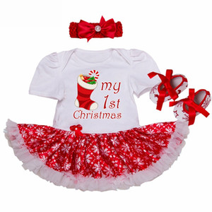 Wholesale Happy Christmas Gift Baby Girl Romper Dress Newborn Baby Outfit Toddler Lace Tutu Headband Set Vestido Menina Infant Cloth