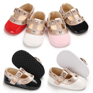Wholesale Baby Girls fashion Rivets princess shoes Cute infants mary jane first walkers colors sizes T
