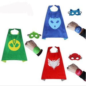 Wholesale PJ Masks Cloak Cape Mask Role play Owlette Gecko Pajamas Cosplay Action Toy Costume Pajamas Birthday Party Dress Set Kids