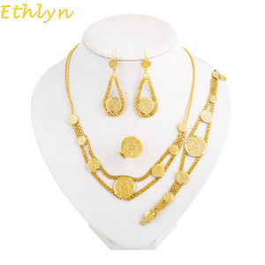 Wholesale whole saleEthlyn Coin Necklace Set Gold Color Antique Coin Earrings Bracelet Rings necklace Middle East Muslims Islamic Women Sets S040
