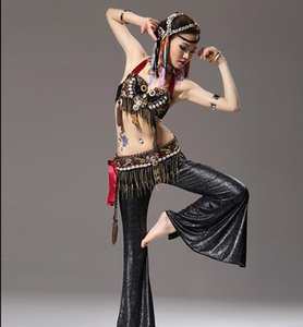 Wholesale Women s Tribal Belly Dance Bra Belt Pants Set Ceramic Beaded Shell Performance Pieces ATS Suit L Black Red