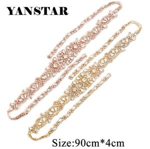 YANSTAR 1PCS Hand Full Length Rhinestones Appliques Sewing On For Wedding Dresses Belt Rhinestones Appliques Accessory YS907 on Sale