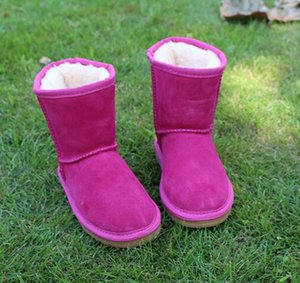 Wholesale 2018 high quality fashion Australia children s shoes fall and winter WGG snow boots children plus velvet anti skid leather warm shoes