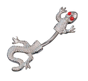 Wholesale New Arrival L Stainless steel Jeweled Lizard Style Belly Button Ring Body Piercing Jewelry Navel Piercing
