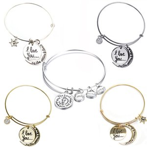 Wholesale Hand Stamped Jewelry quot I Love you quot Moon Pendant Bracelet Bangle For Best Friends Women Family Gift Girl G380S