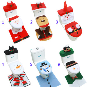Wholesale Toilet Foot Pad Seat Cover Cap Christmas Decorations Happy Santa Toilet Seat Cover and Rug Bathroom Accessory Santa Claus B