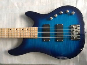 Free Shipping! Wholesale New Arrival Customize 5 string electric bass guitar active 2 pickups in Blue 141225