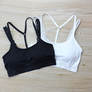Wholesale Women Tank Backless Sports Bras Running Crop Push Up Fitness Top Bras Lace Strap Women Gym Tops Sport Vest Padded Yoga Top CPA1285