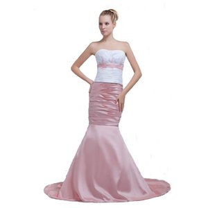 Wholesale Newest White Pink Mermaid Prom Dress With Beaded Appliques Slim Hips Off Shoulder Design Ladies Carpet Dress