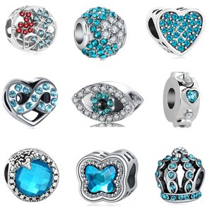Wholesale european MOQ silverake blue eye crown butterfly infinity heart diy jewelry marking bead fit pandora charm bracelet D008
