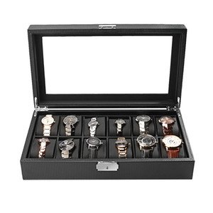 Wholesale Carbon Fiber High Grade Slots Luxury Display Design Jewelry Display Watch Box Storage Black Watch Holder Case