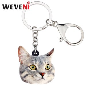 Wholesale WEVENI Acrylic Novelty Cat Kitten Key Chains Keychains Rings Animal Jewelry For Women Girls Ladies Handbag Car Charms Pets Bulk