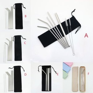 "304 Stainless Steel Drinking Straws Set 8.5"" 9.5"" 10.5"" Straight Bent Reusable Drinking Straws Sets 7 Style Dia 6mm DHL"