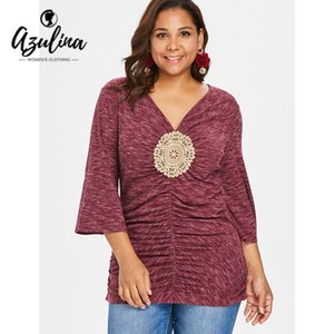 AZULINA Plus Size Women T-Shirt Autumn Summer Marled V-Neck Three Quarter Sleeve Appliques T Shirt Big Size Casual Ladies Tops
