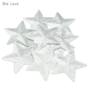 Wholesale iron on She Love Silver Star Sequins Iron on Applique Embroidered Patches Sew Fabric Clothes Badge DIY Apparel Accessories
