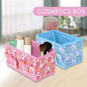 Wholesale Multifunctional Folding Non Woven Make Up Desktop Cosmetic Organizer Storage Box Wardrobe Drawer Organizer For Scarfs Socks