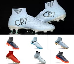 Wholesale Original Cristiano Ronaldo Mercurial Superfly v FG CR7 Football Boots White Golden Soccer Shoes mens Training Sneakers Soccer Cleats