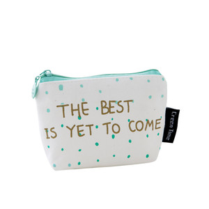 Wholesale 12 cm Canvas Mini Coin Purse Green Letter Key Bags Cute Zipper Wallet Simple Wallet Cartoon Key Bag
