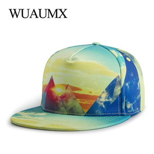 Wholesale Wuaumx High Quality Flat Bill Snapback Cap For Men Women Hip Hop Hat Fitted Youth Baseball Cap Flat peaked Trucker Hat Casquette