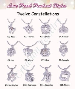 Wholesale 12 pieces new fashion twelve constellations cages multi styles pendants can put pearls silver high quality