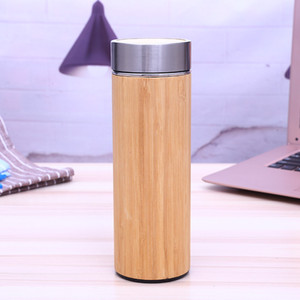 Wholesale Bamboo With Stainless Steel Water Bottle ML ML Vacuum Cup Insulated Cup With Tea Infuser Strainer