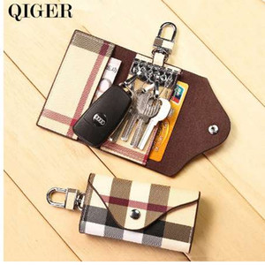 QIGER Fashion Plaid Multifunctional Key Wallet Holder Men Women Key chain Bag Car Keys Bag Leather Buckle Key Wallet Case