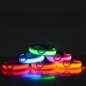 Wholesale LED Nylon Dog Collar Dog Cat Harness Flashing Light Up Night Safety Pet Collars Colors XS XL Size Christmas Accessories