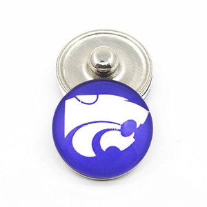Wholesale 20pcs NCAA Kansas State University Team Sport Charms Ginger Glass Snap Buttons Fit mm Snap Women Bracelet Bangles Necklace DIY Jewelry