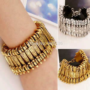 Wholesale whole saleAntique Punk Stylish Wide Metal Cuff Bracelet Bangle Women Vintage Jewelry New Fashion Europe Gold Silver Chain Bracelet