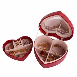 Wholesale PU Leather Heart shaped Jewelry Display Case Box Fashion Jewellery Necklace Rings Storage Boxes Packaging Case Organizer