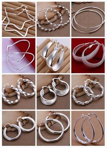 Wholesale fashion mix style pairs Jewelry high quality plating sterling silver Ear hoop earrings fashion gifts hyperbole big Ear ring