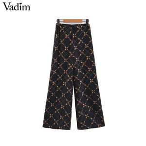 Wholesale Vadim women chic chains print wide leg pants elastic waist vintage female casual full length trousers pantalones KA401