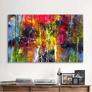 Wholesale colorful abstract art oil paintings resale online - Handpainted HD Print Abstract Painting Colorful Graffiti Art oil painting Wall Art Decor On High Quality Canvas Multi Sizes G15