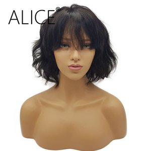 Wholesale ALICE Lace Wig Density Braizlian Remy Short Human Hair Lace Front Wigs Black Women With Bangs Inches Natural color