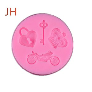 High quality silica gel candy mould, love lock key motorcycle molding and embossing process cake chocolate die