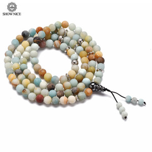 108 Mala Beads Bracelets for Yoga Buddhist Rosary Prayer Charm Necklace Made By Hematite Stainless Steel Spacers for Women Men