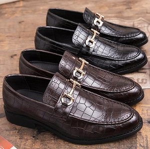 Wholesale Luxury Italian Men Wedding Black Lace Up Oxford Genuine Leather Crocodile Print Party Business Male Dress Brown Shoes a41