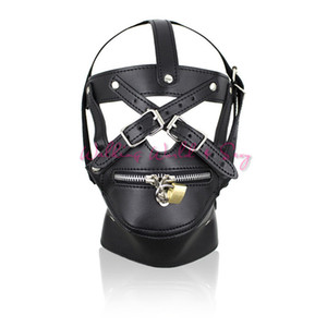 Wholesale hood sex locks resale online - Adult Game Sex Toys Zipper Mouth Latex Pu Leather Mask Fetish Slave Sex Mask Bondage Hood With Lock Sex Products For Couples S924