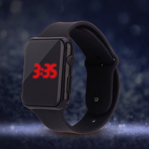 Wholesale NEW Red Square Dial Digital Jelly Silicone Bracelet LED Sports Wrist Watch fashion Women Men Watch