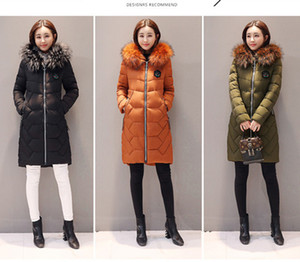 Wholesale The new cotton padded women s mid length feather down cotton dress Korean style slim slim big hair collar winter winter jacket