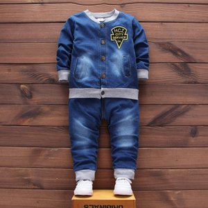 Wholesale Newborn Signle Breasted Set Coat Jeans Bebes Baby Boy Newborn Baby Clothes Full Sleeve Baby Boy Clothes Sets