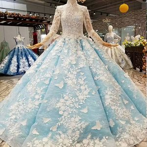 Wholesale Multiple Colour Muslim Women Occasion Dress Illusion Long Sleeve High Neck 3D Flower Golden Ball Gown Long Garden Evening Dress Bohemia