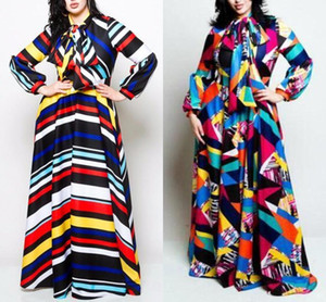 Plus Size Women Striped Maxi Dress with Bow Autumn Winter Lantern Sleeve Colorblocked Loose Dress Women Robe Femme FS5114