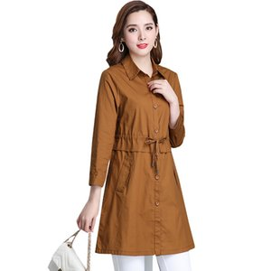 Spring Autumn Trench Coat Elderly Women Solid Color Overcoat Plus Size 6XL Elegant Female Windbreaker Casual Warm Tops on Sale