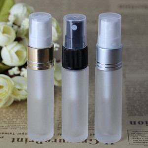 New product 10ml Frosted Glass Perfume Sample Vials with 3 Colors Atomizer 10 ml Empty Spray Bottle Gold Black Silver Lids