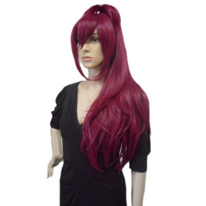 Women's Straight Ponytail Party Cosplay Costume Wigs Long Wine Red