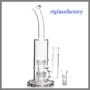 Wholesale High quality Glass bong Twin Cage Junior glass water pipe glass smoking pipe cm tall mm thickness Bubbler