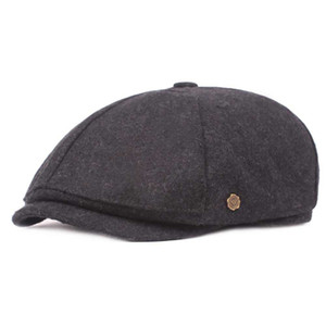 Wholesale Autumn Winter Wool Felt Newsboy Caps Men Beret Old Man Retro Octagonal Cap Art Youth Casquette Male Trilby